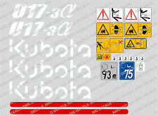KUBOTA U17-3 MINI DIGGER COMPLETE DECAL SET WITH SAFETY WARNING SIGNS