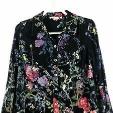 Soft Surroundings Jardim Velvet Shirt Floral Print Shirt Tunic MEDIUM
