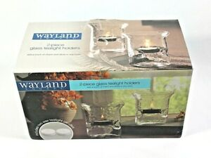 WAYLAND SQUARE 2-PIECE Hammered GLASS TEALIGHT HOLDERS With tealights NIB