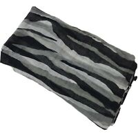 Calvin Klein Shawl Wrap Scarf Black Tiger Zebra Striped Gauze