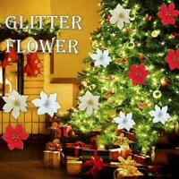 Christmas Tree Decoration Flowers Glitter Flower Tree Xmas Party Hanging L1T7