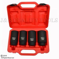 "4pc 12 Point 1/2"" Drive Deep Spindle Axle Nut Socket Set MM 30mm 32mm 34mm 36mm"