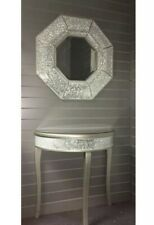 New Stunning Silver Octagon Crackled Glass Mosaic Mirror Crushed Home Decor