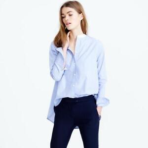 Thomas Mason J Crew Women's Collarless Tuxedo Button Up Shirt Blue White Size 14