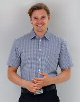 Benchmark Mens Poplin Short Sleeve Business Shirt LHC Pocket Hard Wearing Easy C