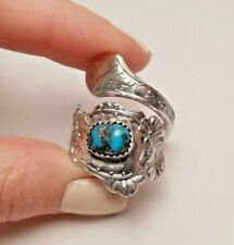 GOOD LUCK FOUR LEAF HORSESHOE TURQUOISE SPOON RING STERLING SILVER 925 SIZE 12