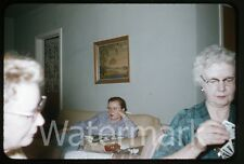 1950s red border kodachrome Photo slide Bored Lady on sofa  Card Playing