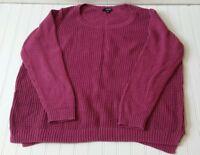 ana Pullover Sweater Womens Plus Size 3X Crochet Open Knit Purple Long Sleeve