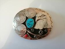 BR Native American Turquoise, Coral and 5 cent coins Eagle head Belt Buckle