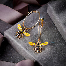 Honey Bee Hoop Earrings Women Animal Yellow Enamel Crystal Party Jewelry Gift