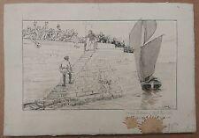 Dessin Ancien Encre Paysage Scène Port Pêcheur ERNEST DUEZ XIXe