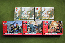 NEW 5 SETS AIRFIX 1:72 WWII BRITISH US GERMAN INF PARA COMMAND NEW EX-SHOP STOCK