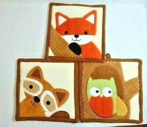 Lambs & Ivy Woodland Forest Animals 3-pc Fabric Wall Hanging Fox Raccoon Owl