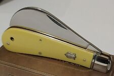 VINTAGE YELLOW HAWKBILL HUNTING POCKET KNIFE ELECTRICIAN !!!