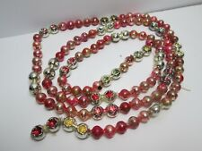 Vintage Antique Mercury Glass Christmas Garland Unusual Pinks And Silver  53""""