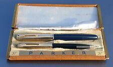 Parker 51 VACUMATIC 1942 CEDAR BLUE SET 16K GOLD FILL CAPS FULLY RESTORED