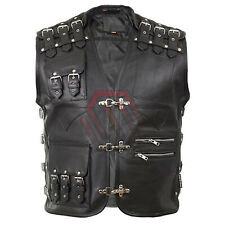 Men's Real Leather Heavy Buckled Rocker Biker Motorcycle Vest Waistcoat