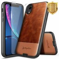 Leather Case For iPhone X XR XS Max Shockproof Phone Cover with Tempered Glass