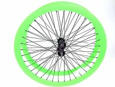700C Alloy Wheelset 43mm Neon Green Fixie Freewheel Single Speed Flip Flop Hub
