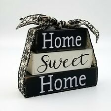 Home Sweet Home Shelf Sitter Block Sign Set Tiered Tray Decor