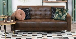 3 Seater Faux Leather Sofa Bed Brown