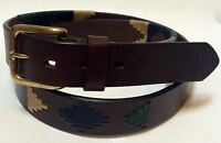 """Madryn"" 100% Argentine Embroidered Leather Polo Belt - The Best Quality"