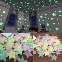 100Pcs Glow In The Dark 3D Stars Luminous Fluorescent Wall Stickers Kids Bedroom