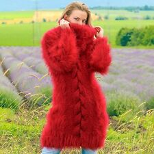 Burgundy red hand knitted mohair sweater fuzzy handmade fluffy dress SUPERTANYA