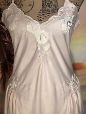 Vintage Natori Bubblegum Bridal Pink Satin Grand Sweep Long Nightgown Sz M