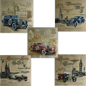 Gobelin Tapestry Panel Car Oldtimer Crafting Fabric Approx. 18 1/8x18 1/8in
