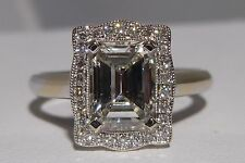 GIA Color I Clarity VS2 1.28 CTW 18k Gold Ring Engagement Emerald Diamond Super