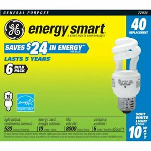 GE Smart Spiral CFL 40W replacement 10W soft white bulb 6 pack