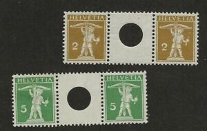 SWITZERLAND SC# 146A,148A MH STAMPS GUTTER PAIRS PUNCH HOLE
