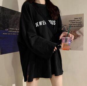 Japanese Korean fashion oversized women's long sleeve dress tee (LT08)