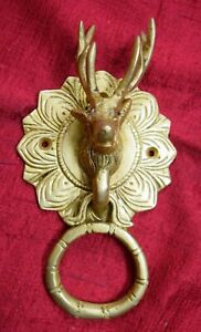 Brass Reindeer Door Bell Ring Deer Face Flower Engraving Door Knocker RU99