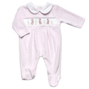 Baby girls Spanish style velour Rabbit smocked baby grow sleepsuit 0-3 3-6 month