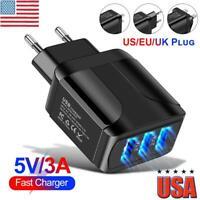 Fast Quick Charging Charger QC 3.0 3A USB Hub Wall Charger Adapter UK US EU Plug