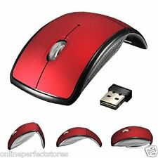 Red - Foldable 2.4GHz WIRELESS OPTICAL USB  ARC MOUSE  FOR LAPTOP PC