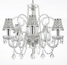 Empress Crystal (tm) Chandelier Lighting with Chrome Sleeves and Crystal Shades