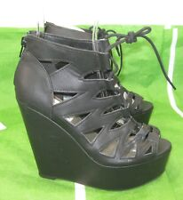 """Black 5""""High Wedge Heel 2""""Platform Open Toe Lace Up Sexy Shoes Size  6.5"""