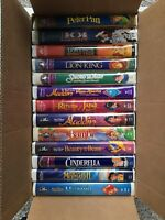 Lot of 13 Disney VHS Tapes Peter Pan Aladdin Lion King 101 Dalmatians Cinderella