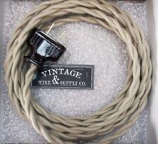 TAN COTTON - Rewire Lamp Cord Steampunk Cloth Twisted Wire - Antique Fan Lamp