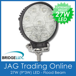 27W LED 12V~24V ROUND FLOOD/WORK LAMP- DRIVING/BOAT/CARAVAN/4X4/TRUCK/DECK LIGHT