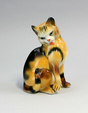 Porzellanfigur Getigerte Katze beim Putzen Ens H12cm 41162