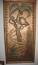 Rare Tiki Relief Panel Art Deco Hagenauer style Monkey Bongos Panel Movie Prop