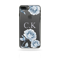 PERSONALISED INITIALS FLOWER PHONE CASE CLEAR HARD COVER FOR SAMSUNG NOTE 9/S9 +