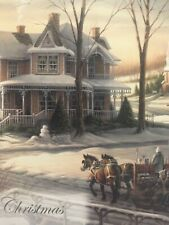 Unused Christmas Card Redlin Matching Envelope Victorian House Horse Sleigh
