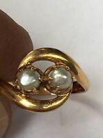 superbe bague ancienne xix ème avec perle or 18 k old ring gold taille 49