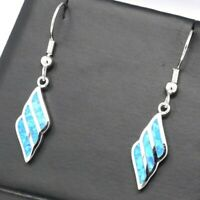 Gorgeous Blue Opal Dangle Drop Earrings Women Birthday Gift 14K White Gold Plate