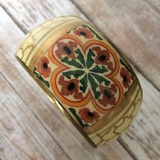 "Hand Painted Brass Resin Bangle Bracelet Floral Motif Made in India 1.5"" Boho"